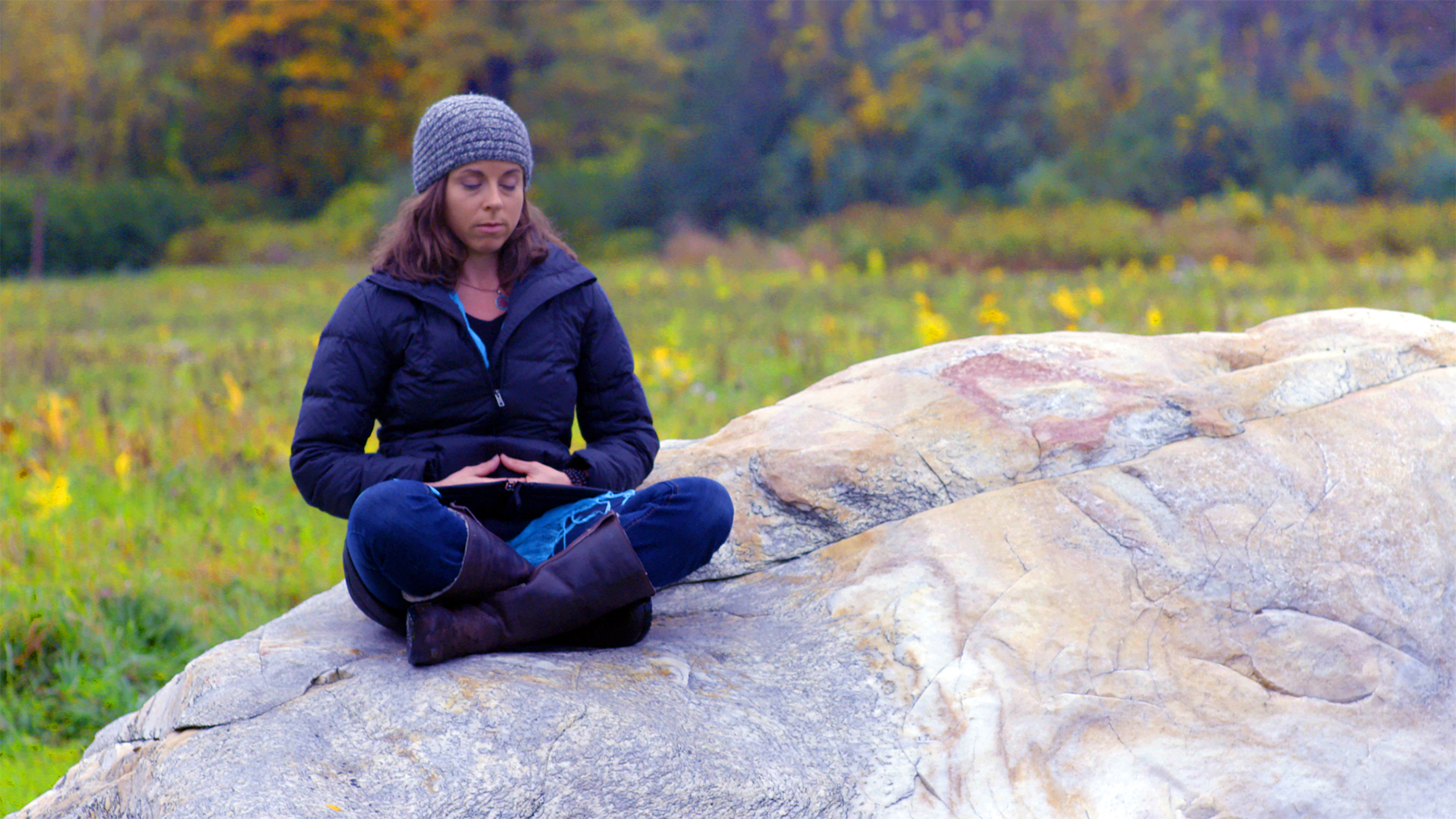 Meg meditating in the Berkshire Mountains
